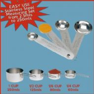 8pcs Chef's Stainless Steel MEASURING CUPS & SPOONS SET 2.5mls - 250mls A Handy Baking & Cooking Set
